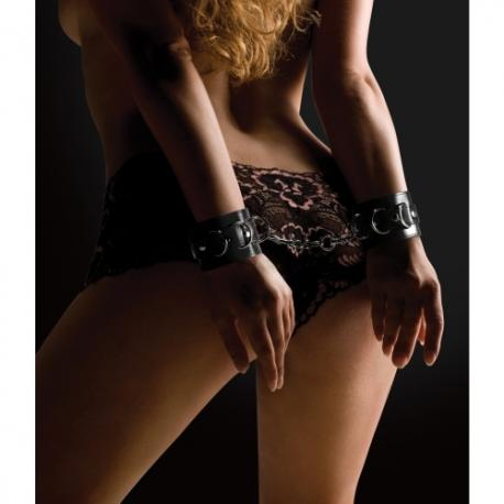 ALGEMAS OUCH! LEATHER HANDCUFFS PRETAS