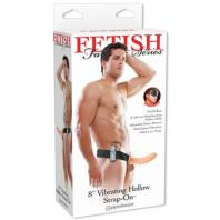 STRAP-ON OCO COM VIBRAÇÃO 8'' VIBRATING HOLLOW FETISH FANTASY SERIES BRANCO
