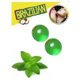 BOLAS LUBRIFICANTES BEIJÁVEIS BRAZILIAN BALLS SABOR A MENTA 2 x 4GR